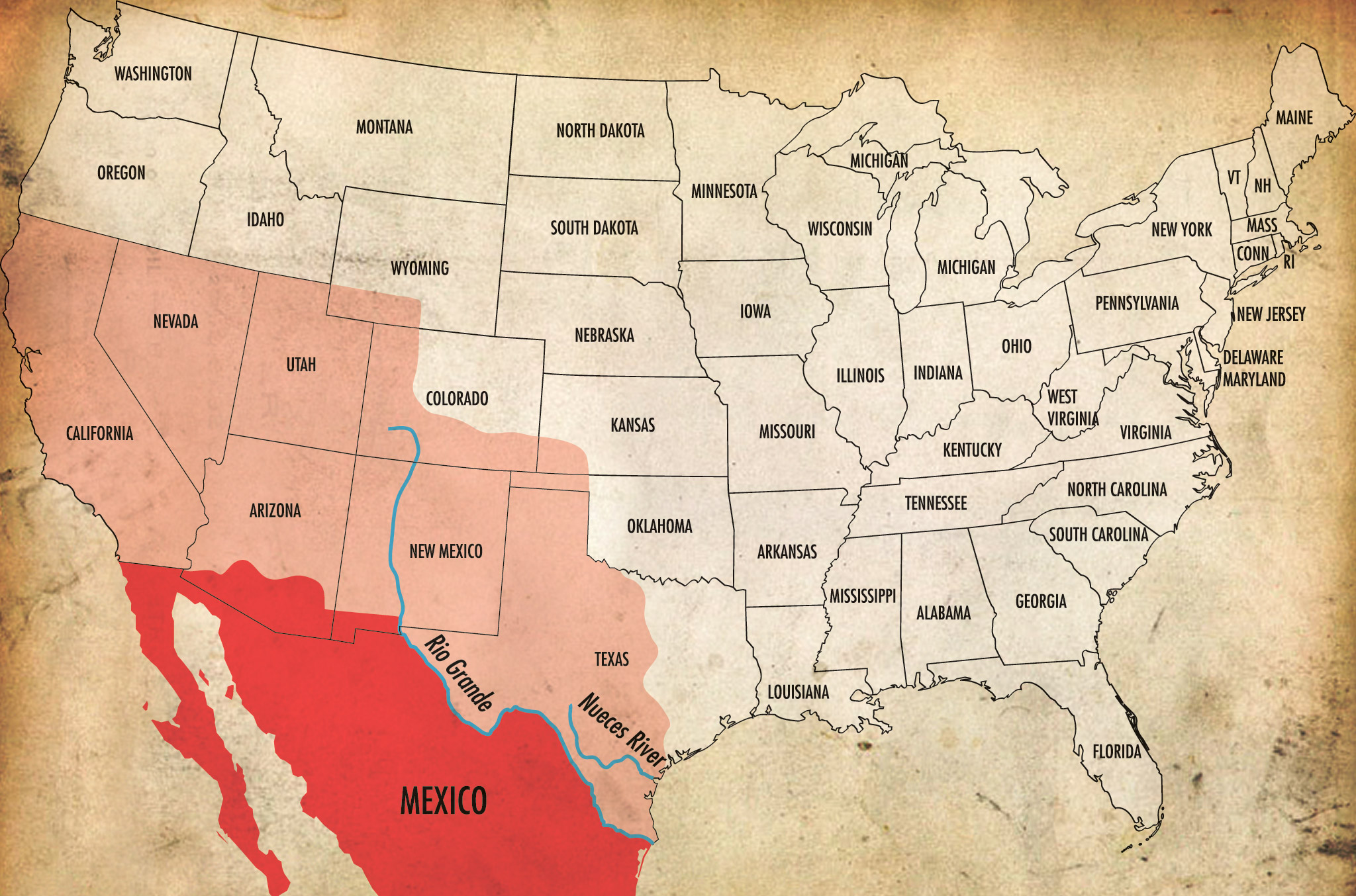 Us Map After Mexican American War On February Nd Following - 1994 us population changes map dollar and reichard